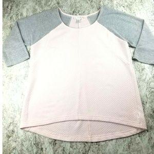 Womens Raglan Pink Gray  Mesh High Low Tee Top L